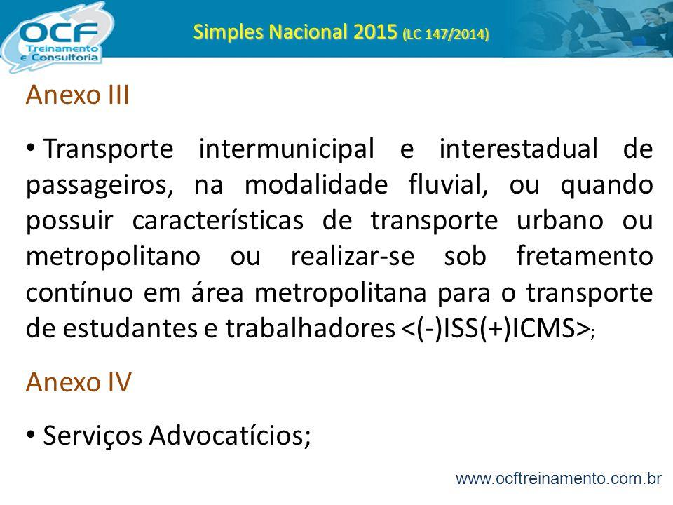 Simples Nacional 2015 (LC 147/2014) Anexo III Transporte intermunicipal e interestadual de passageiros, na modalidade fluvial, ou quando possuir carac