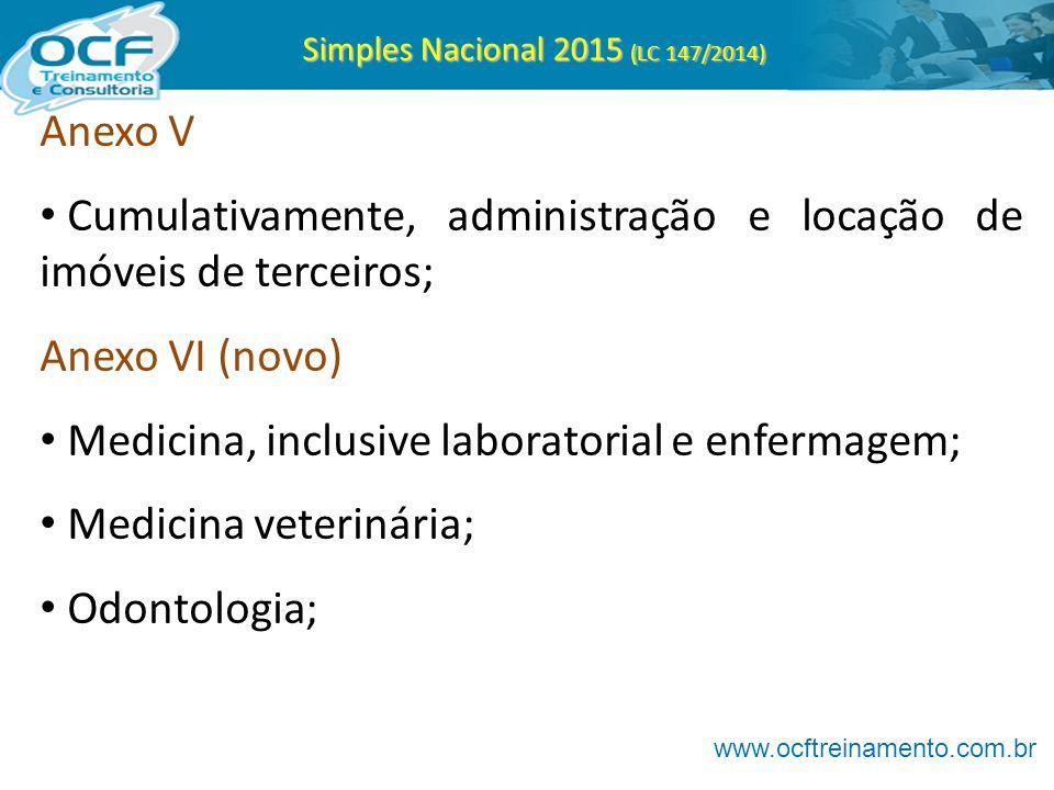 Simples Nacional 2015 (LC 147/2014) Anexo V Cumulativamente, administração e locação de imóveis de terceiros; Anexo VI (novo) Medicina, inclusive labo