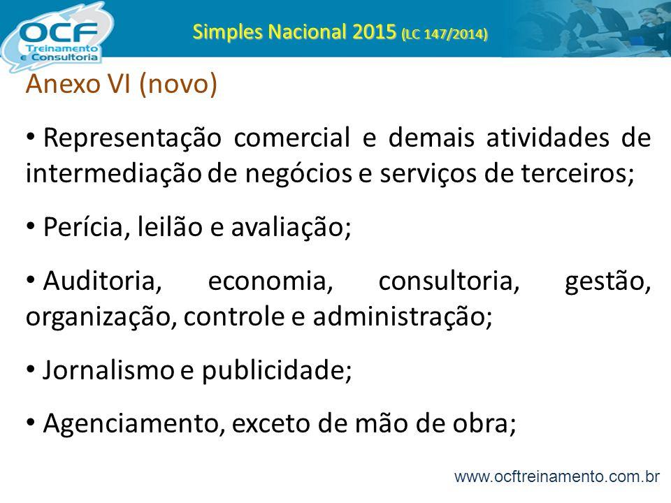 Simples Nacional 2015 (LC 147/2014) Anexo VI (novo) Representação comercial e demais atividades de intermediação de negócios e serviços de terceiros;