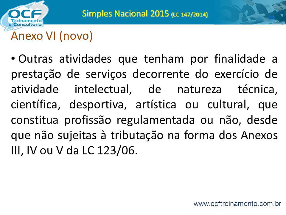 Simples Nacional 2015 (LC 147/2014) Anexo VI (novo) Outras atividades que tenham por finalidade a prestação de serviços decorrente do exercício de ati
