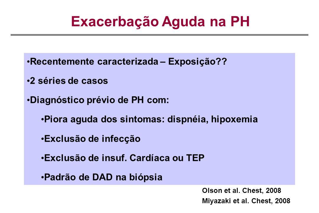 Exacerbação Aguda na PH Recentemente caracterizada – Exposição?? 2 séries de casos Diagnóstico prévio de PH com: Piora aguda dos sintomas: dispnéia, h