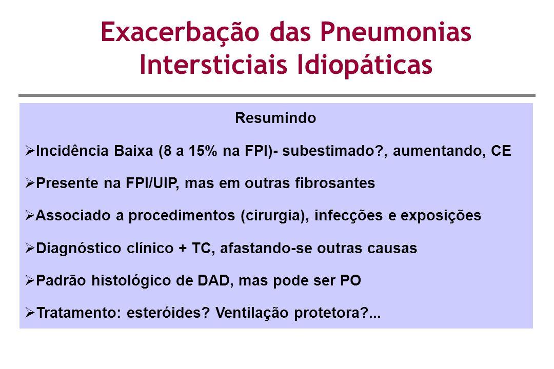 Exacerbação das Pneumonias Intersticiais Idiopáticas Resumindo  Incidência Baixa (8 a 15% na FPI)- subestimado?, aumentando, CE  Presente na FPI/UIP