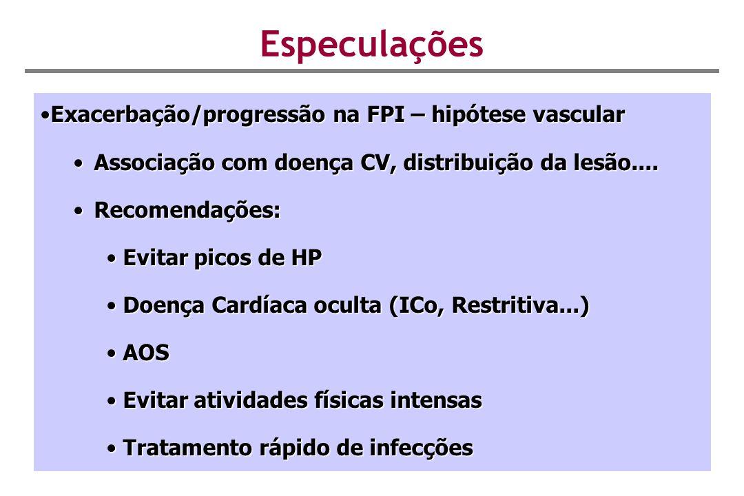 Especulações Exacerbação/progressão na FPI – hipótese vascularExacerbação/progressão na FPI – hipótese vascular Associação com doença CV, distribuição