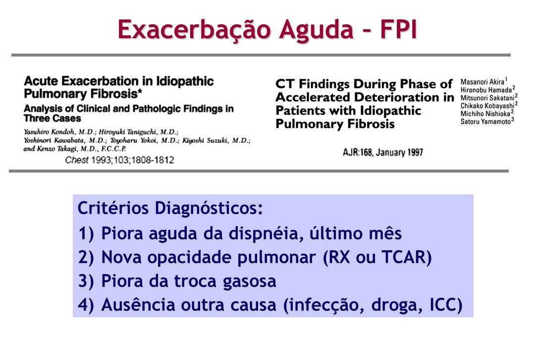 Critérios Diagnósticos: 1)Piora aguda da dispnéia, último mês 2)Nova opacidade pulmonar (RX ou TCAR) 3)Piora da troca gasosa 4)Ausência outra causa (i