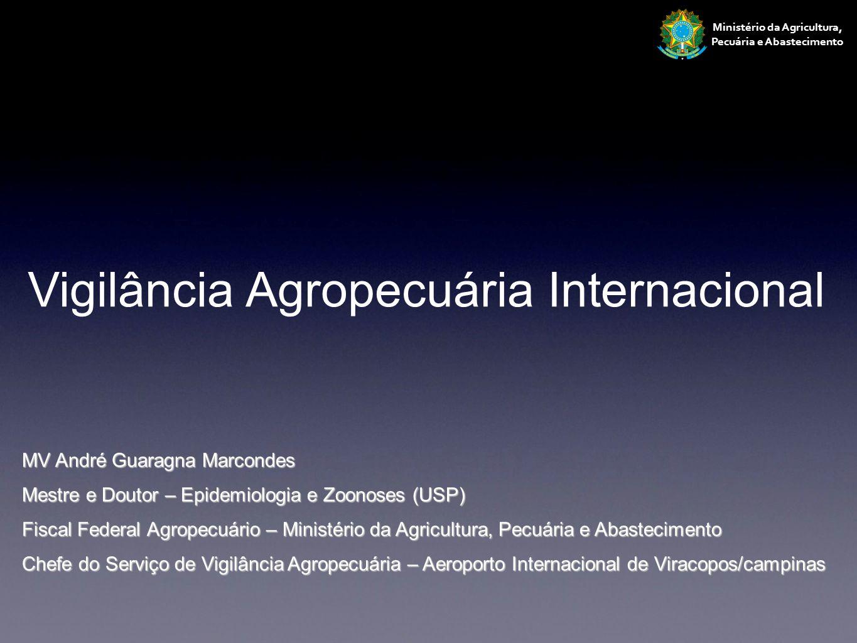 Ministério da Agricultura, Pecuária e Abastecimento Vigilância Agropecuária Internacional MV André Guaragna Marcondes Mestre e Doutor – Epidemiologia