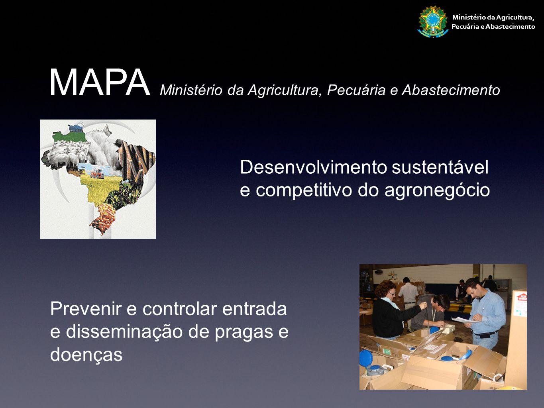 Ministério da Agricultura, Pecuária e Abastecimento MAPA Ministério da Agricultura, Pecuária e Abastecimento Implementação medidas fitossanitárias exigidas pela comunidade internacional Emissão certificação fitossanitária