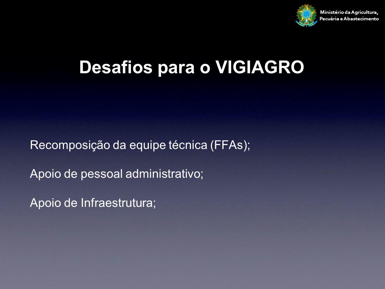 Recomposição da equipe técnica (FFAs); Apoio de pessoal administrativo; Apoio de Infraestrutura; Ministério da Agricultura, Pecuária e Abastecimento D