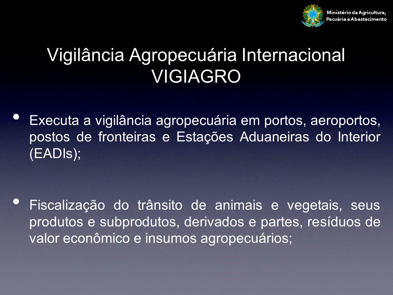 Vigilância Agropecuária Internacional VIGIAGRO 106 pontos de controle 28 portos 26 aeroportos 28 postos de fronteira 24 Estações Aduaneiras do Interior Ministério da Agricultura, Pecuária e Abastecimento