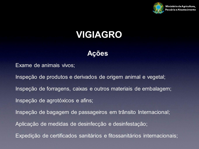 Exame de animais vivos; Inspeção de produtos e derivados de origem animal e vegetal; Inspeção de forragens, caixas e outros materiais de embalagem; In