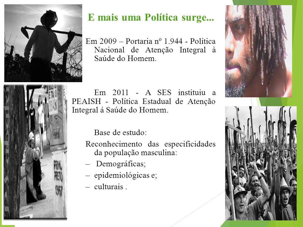 E mais uma Política surge... Em 2009 – Portaria nº 1.944 - Política Nacional de Atenção Integral à Saúde do Homem. Em 2011 - A SES instituiu a PEAISH