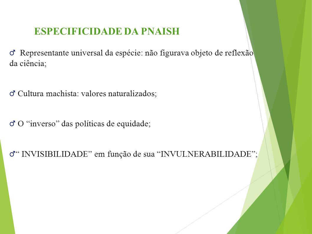 """ESPECIFICIDADE DA PNAISH Representante universal da espécie: não figurava objeto de reflexão da ciência; Cultura machista: valores naturalizados; O """"i"""