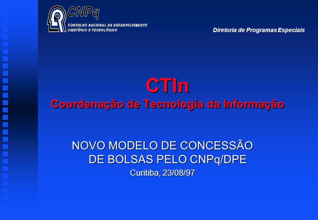 CTIn Coordenação de Tecnologia da Informação NOVO MODELO DE CONCESSÃO DE BOLSAS PELO CNPq/DPE Curitiba, 23/08/97 Diretoria de Programas Especiais
