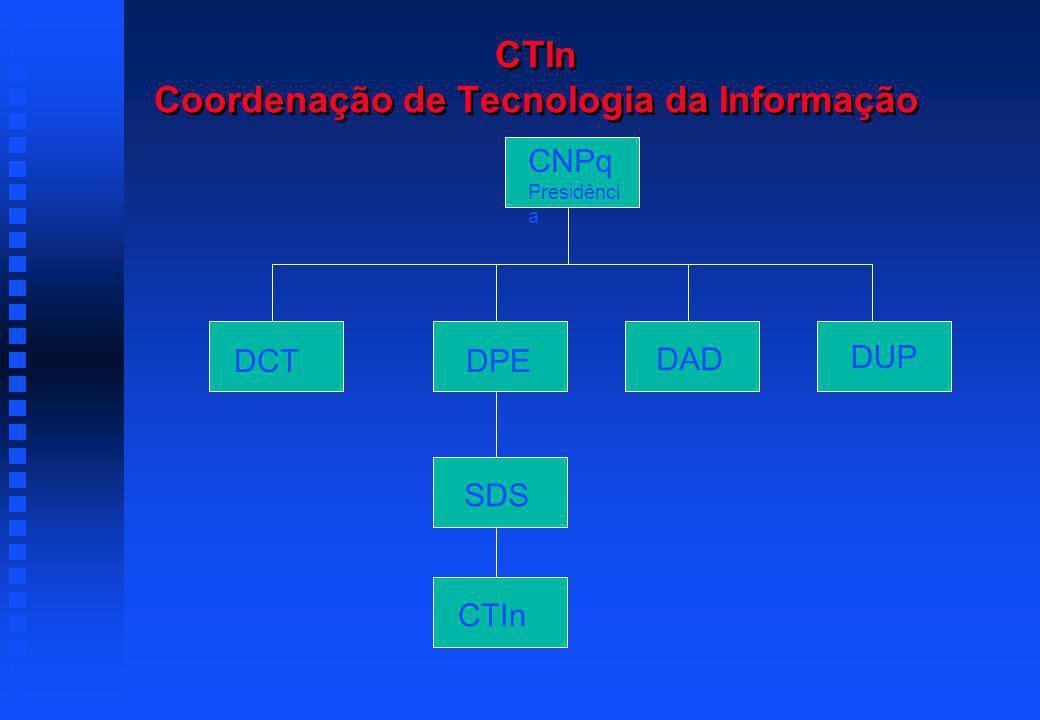 CTIn Coordenação de Tecnologia da Informação DCTDPE DAD DUP SDS CTIn CNPq Presidênci a