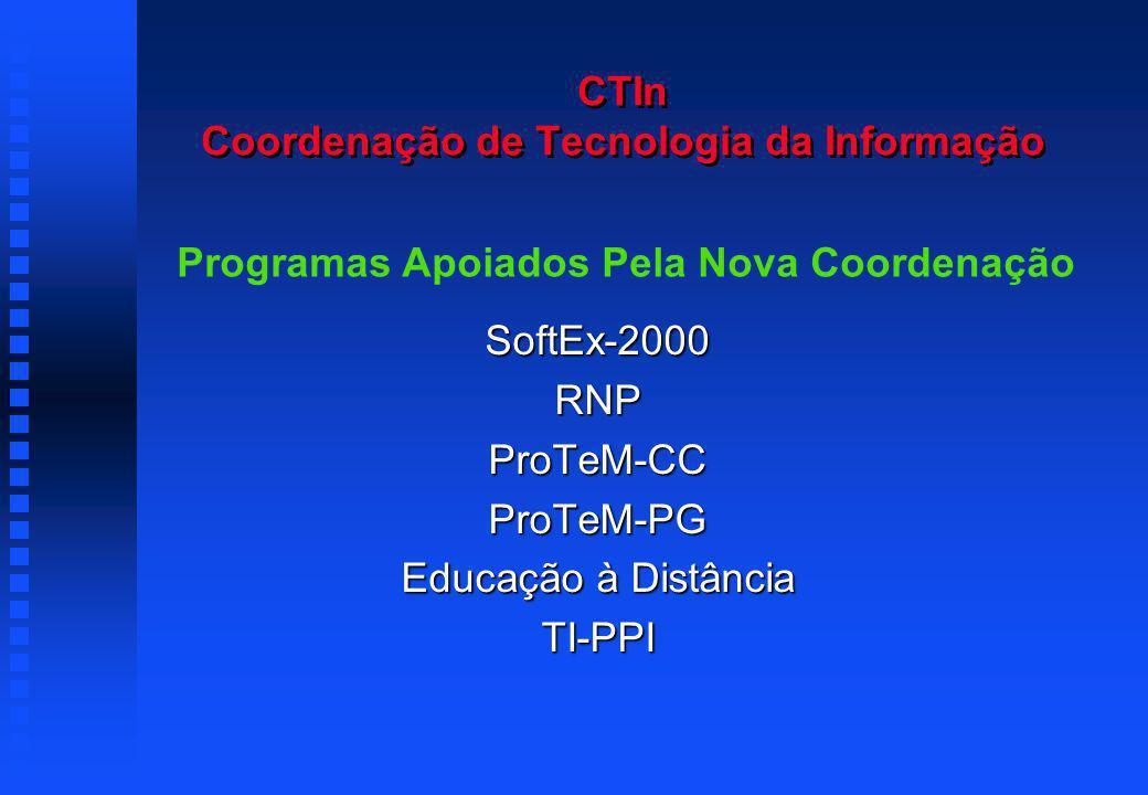 CTIn Coordenação de Tecnologia da Informação SoftEx-2000RNPProTeM-CCProTeM-PG Educação à Distância TI-PPI Programas Apoiados Pela Nova Coordenação