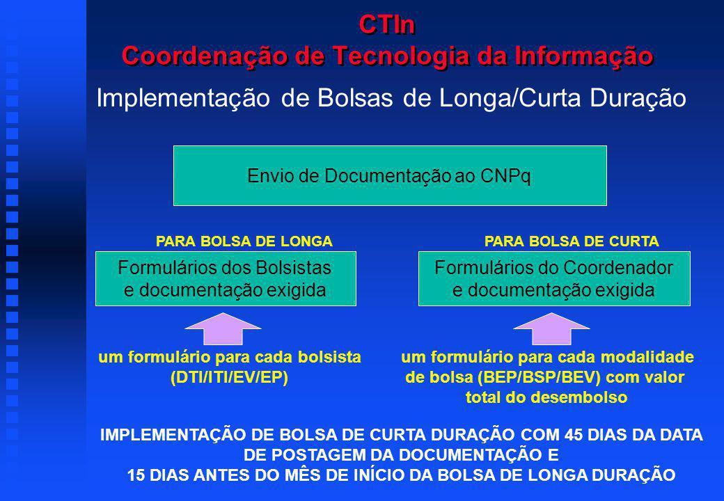 Formulários do Coordenador e documentação exigida PARA BOLSA DE CURTA um formulário para cada modalidade de bolsa (BEP/BSP/BEV) com valor total do desembolso Formulários dos Bolsistas e documentação exigida PARA BOLSA DE LONGA um formulário para cada bolsista (DTI/ITI/EV/EP) Envio de Documentação ao CNPq CTIn Coordenação de Tecnologia da Informação Implementação de Bolsas de Longa/Curta Duração IMPLEMENTAÇÃO DE BOLSA DE CURTA DURAÇÃO COM 45 DIAS DA DATA DE POSTAGEM DA DOCUMENTAÇÃO E 15 DIAS ANTES DO MÊS DE INÍCIO DA BOLSA DE LONGA DURAÇÃO