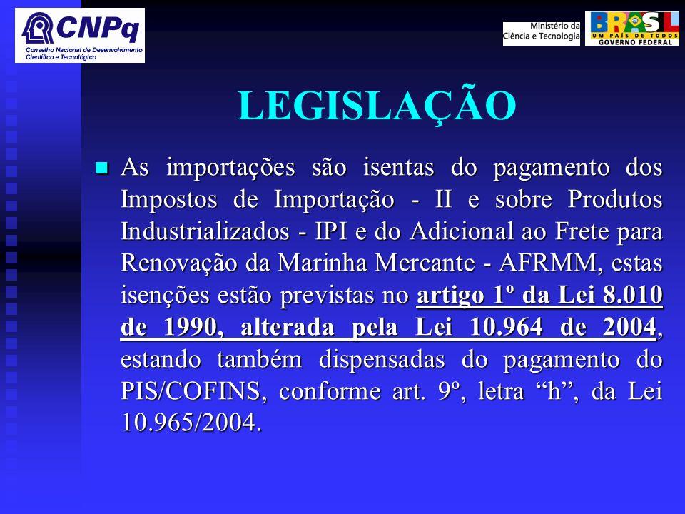 LEGISLAÇÃO As importações são isentas do pagamento dos Impostos de Importação - II e sobre Produtos Industrializados - IPI e do Adicional ao Frete para Renovação da Marinha Mercante - AFRMM, estas isenções estão previstas no artigo 1º da Lei 8.010 de 1990, alterada pela Lei 10.964 de 2004, estando também dispensadas do pagamento do PIS/COFINS, conforme art.