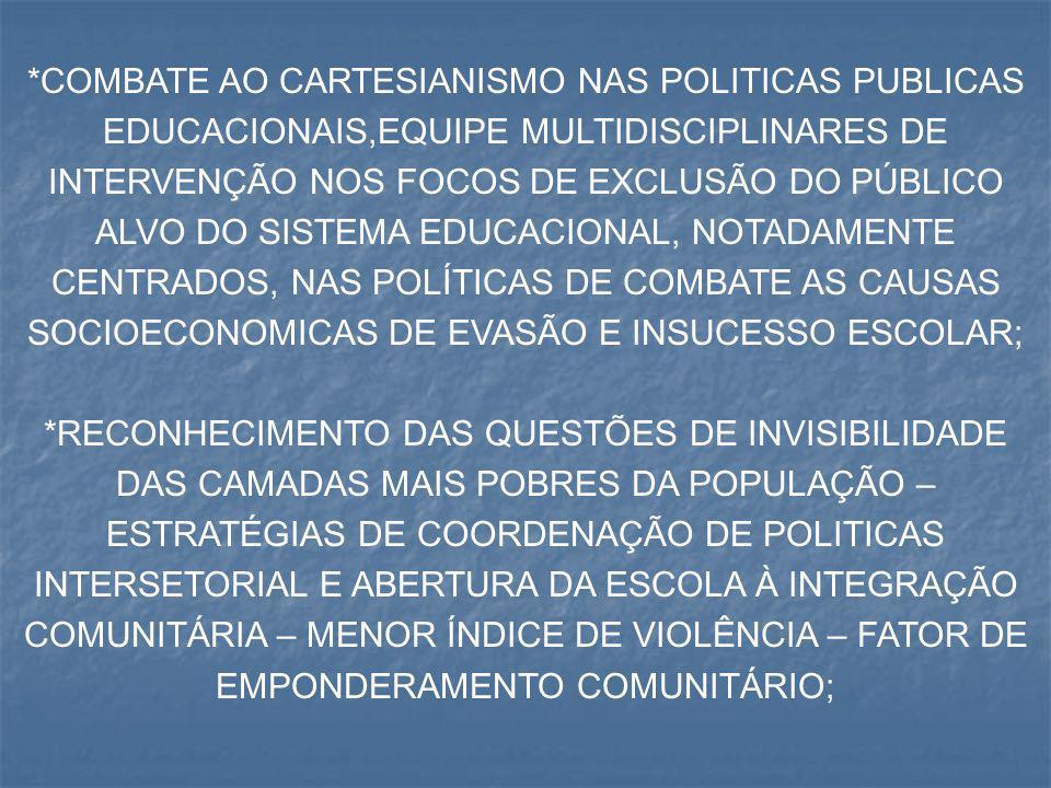 *COMBATE AO CARTESIANISMO NAS POLITICAS PUBLICAS EDUCACIONAIS,EQUIPE MULTIDISCIPLINARES DE INTERVENÇÃO NOS FOCOS DE EXCLUSÃO DO PÚBLICO ALVO DO SISTEM