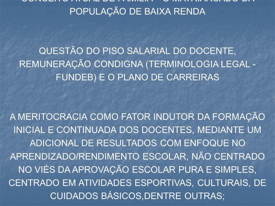 CONCEITO ATUAL DE FAMÍLIA – O MATRIARCADO DA POPULAÇÃO DE BAIXA RENDA QUESTÃO DO PISO SALARIAL DO DOCENTE, REMUNERAÇÃO CONDIGNA (TERMINOLOGIA LEGAL -