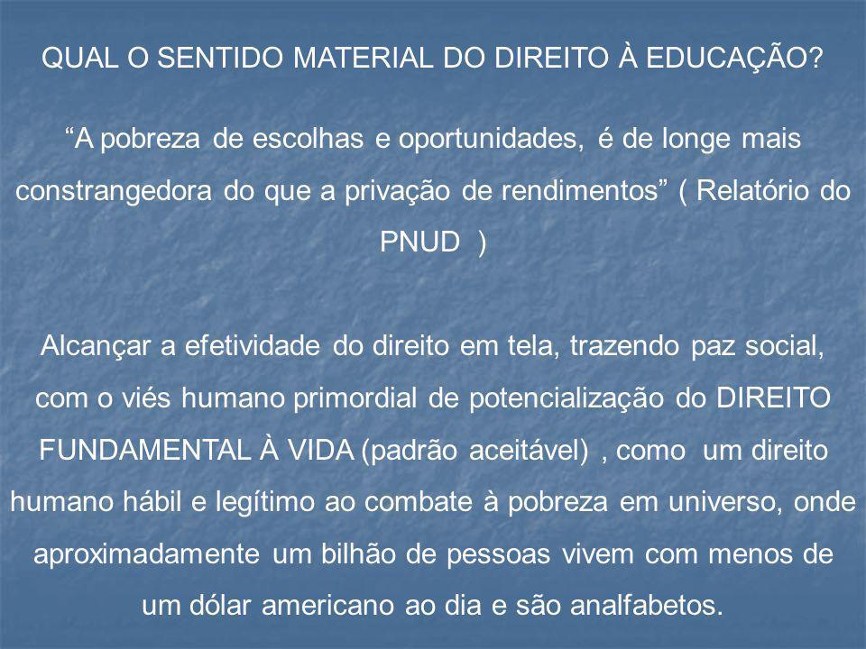 """QUAL O SENTIDO MATERIAL DO DIREITO À EDUCAÇÃO? """"A pobreza de escolhas e oportunidades, é de longe mais constrangedora do que a privação de rendimentos"""