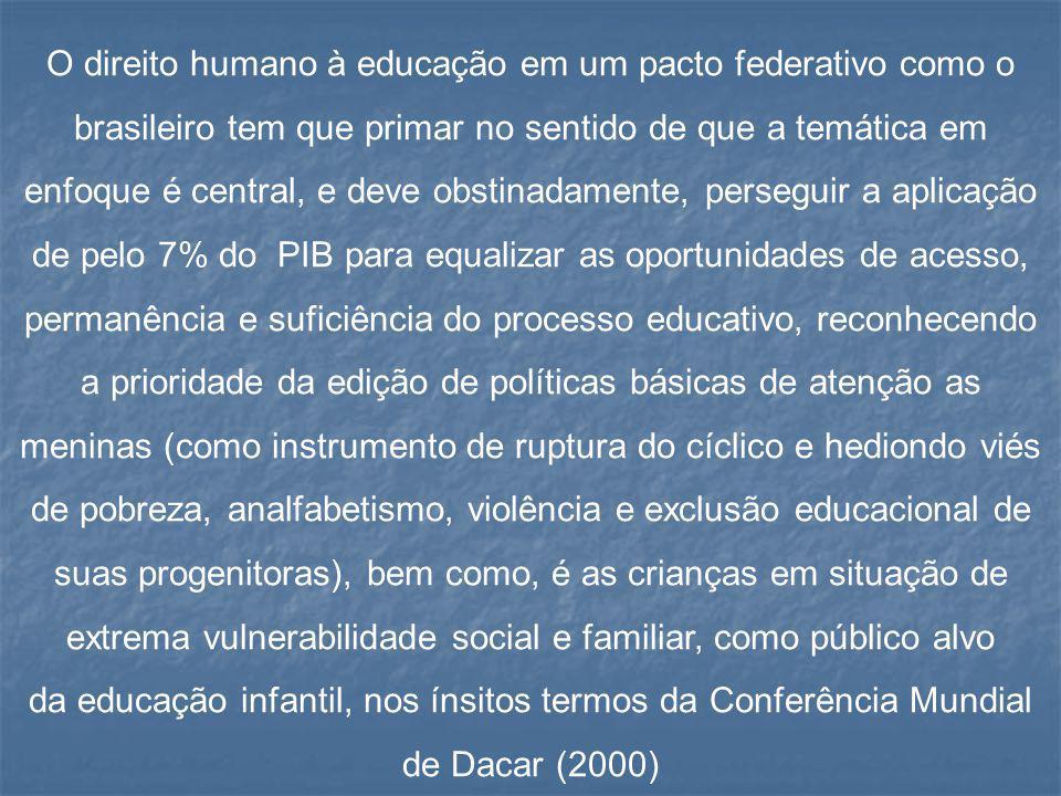 O direito humano à educação em um pacto federativo como o brasileiro tem que primar no sentido de que a temática em enfoque é central, e deve obstinad