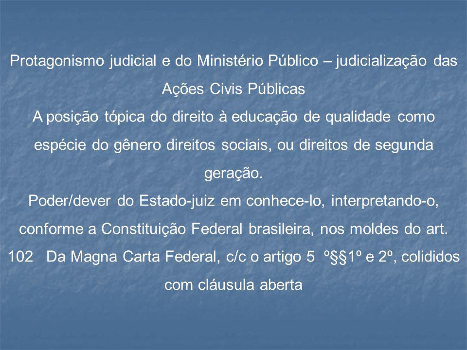 Protagonismo judicial e do Ministério Público – judicialização das Ações Civis Públicas A posição tópica do direito à educação de qualidade como espéc
