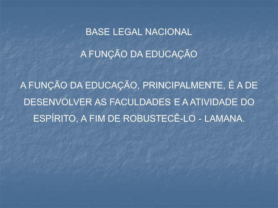BASE LEGAL NACIONAL A FUNÇÃO DA EDUCAÇÃO A FUNÇÃO DA EDUCAÇÃO, PRINCIPALMENTE, É A DE DESENVOLVER AS FACULDADES E A ATIVIDADE DO ESPÍRITO, A FIM DE RO