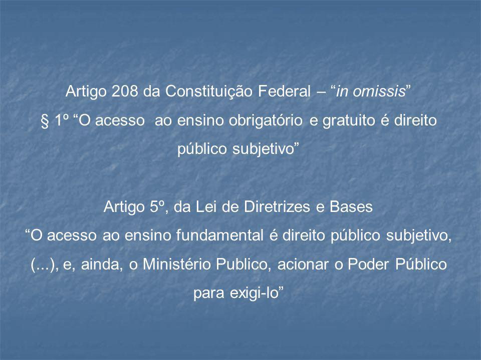"""Artigo 208 da Constituição Federal – """"in omissis"""" § 1º """"O acesso ao ensino obrigatório e gratuito é direito público subjetivo"""" Artigo 5º, da Lei de Di"""