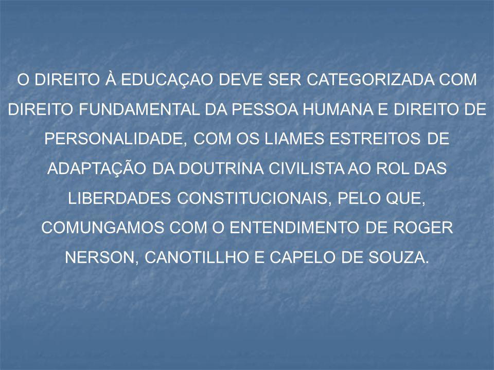 O DIREITO À EDUCAÇAO DEVE SER CATEGORIZADA COM DIREITO FUNDAMENTAL DA PESSOA HUMANA E DIREITO DE PERSONALIDADE, COM OS LIAMES ESTREITOS DE ADAPTAÇÃO D