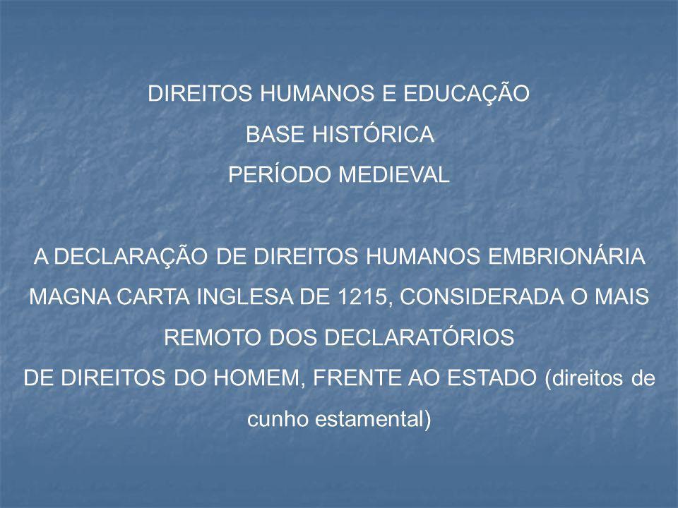 DIREITOS HUMANOS E EDUCAÇÃO BASE HISTÓRICA PERÍODO MEDIEVAL A DECLARAÇÃO DE DIREITOS HUMANOS EMBRIONÁRIA MAGNA CARTA INGLESA DE 1215, CONSIDERADA O MA