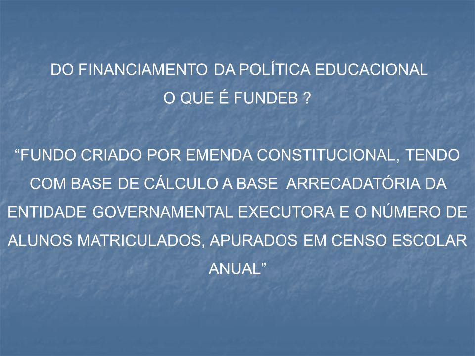 """DO FINANCIAMENTO DA POLÍTICA EDUCACIONAL O QUE É FUNDEB ? """"FUNDO CRIADO POR EMENDA CONSTITUCIONAL, TENDO COM BASE DE CÁLCULO A BASE ARRECADATÓRIA DA E"""