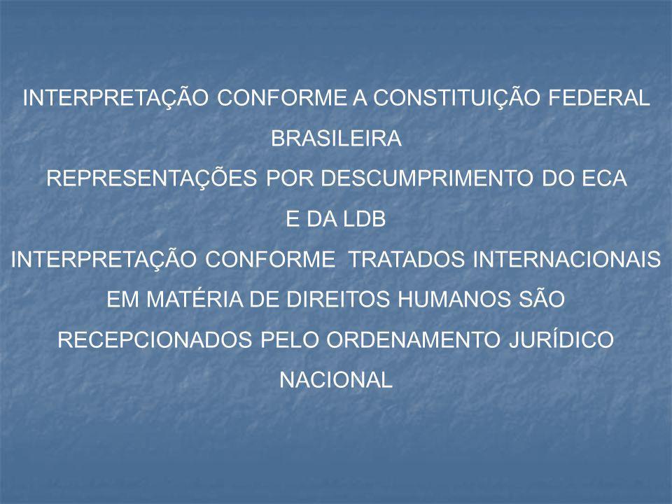 INTERPRETAÇÃO CONFORME A CONSTITUIÇÃO FEDERAL BRASILEIRA REPRESENTAÇÕES POR DESCUMPRIMENTO DO ECA E DA LDB INTERPRETAÇÃO CONFORME TRATADOS INTERNACION