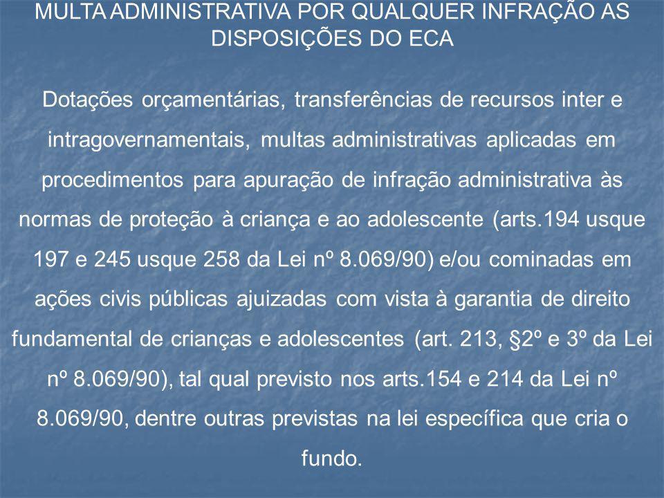 MULTA ADMINISTRATIVA POR QUALQUER INFRAÇÃO AS DISPOSIÇÕES DO ECA Dotações orçamentárias, transferências de recursos inter e intragovernamentais, multa