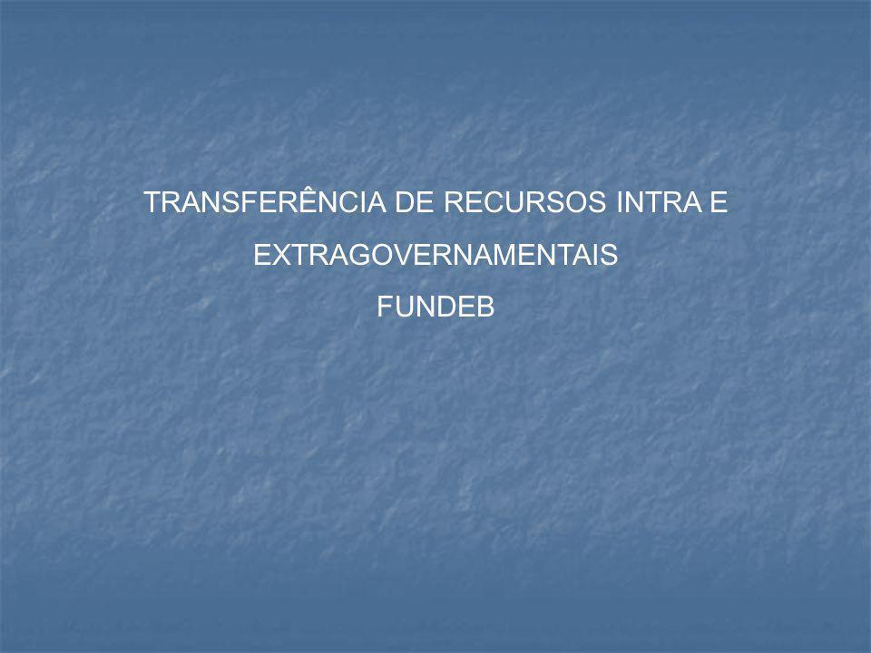 TRANSFERÊNCIA DE RECURSOS INTRA E EXTRAGOVERNAMENTAIS FUNDEB