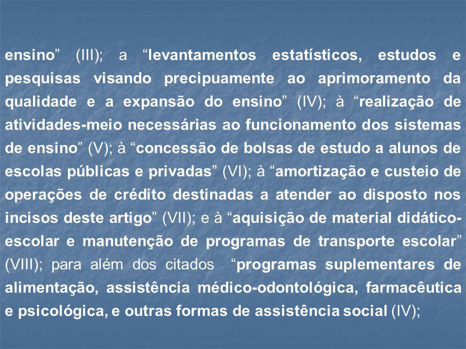 """ensino"""" (III); a """"levantamentos estatísticos, estudos e pesquisas visando precipuamente ao aprimoramento da qualidade e a expansão do ensino"""" (IV); à"""