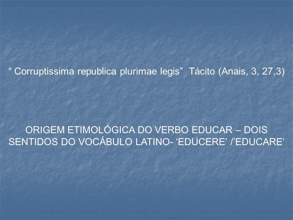 """"""" Corruptissima republica plurimae legis"""" Tácito (Anais, 3, 27,3) ORIGEM ETIMOLÓGICA DO VERBO EDUCAR – DOIS SENTIDOS DO VOCÁBULO LATINO- 'EDUCERE' /'E"""