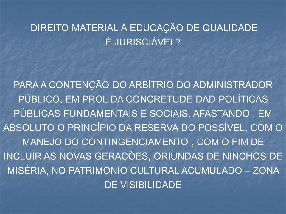 DIREITO MATERIAL Á EDUCAÇÃO DE QUALIDADE É JURISCIÁVEL? PARA A CONTENÇÃO DO ARBÍTRIO DO ADMINISTRADOR PÚBLICO, EM PROL DA CONCRETUDE DAD POLÍTICAS PÚB