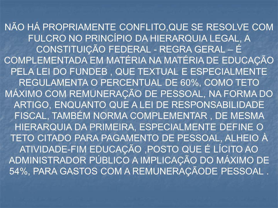 NÃO HÁ PROPRIAMENTE CONFLITO,QUE SE RESOLVE COM FULCRO NO PRINCÍPIO DA HIERARQUIA LEGAL, A CONSTITUIÇÃO FEDERAL - REGRA GERAL – É COMPLEMENTADA EM MAT