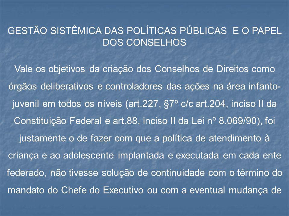 GESTÃO SISTÊMICA DAS POLÍTICAS PÚBLICAS E O PAPEL DOS CONSELHOS Vale os objetivos da criação dos Conselhos de Direitos como órgãos deliberativos e con