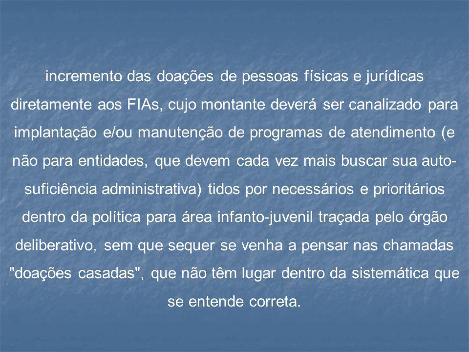 incremento das doações de pessoas físicas e jurídicas diretamente aos FIAs, cujo montante deverá ser canalizado para implantação e/ou manutenção de pr