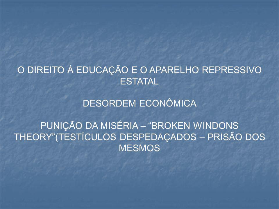 """O DIREITO À EDUCAÇÃO E O APARELHO REPRESSIVO ESTATAL DESORDEM ECONÔMICA PUNIÇÃO DA MISÉRIA – """"BROKEN WINDONS THEORY""""(TESTÍCULOS DESPEDAÇADOS – PRISÃO"""