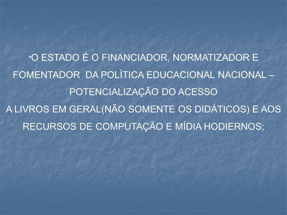 * O ESTADO É O FINANCIADOR, NORMATIZADOR E FOMENTADOR DA POLÍTICA EDUCACIONAL NACIONAL – POTENCIALIZAÇÃO DO ACESSO A LIVROS EM GERAL(NÃO SOMENTE OS DI