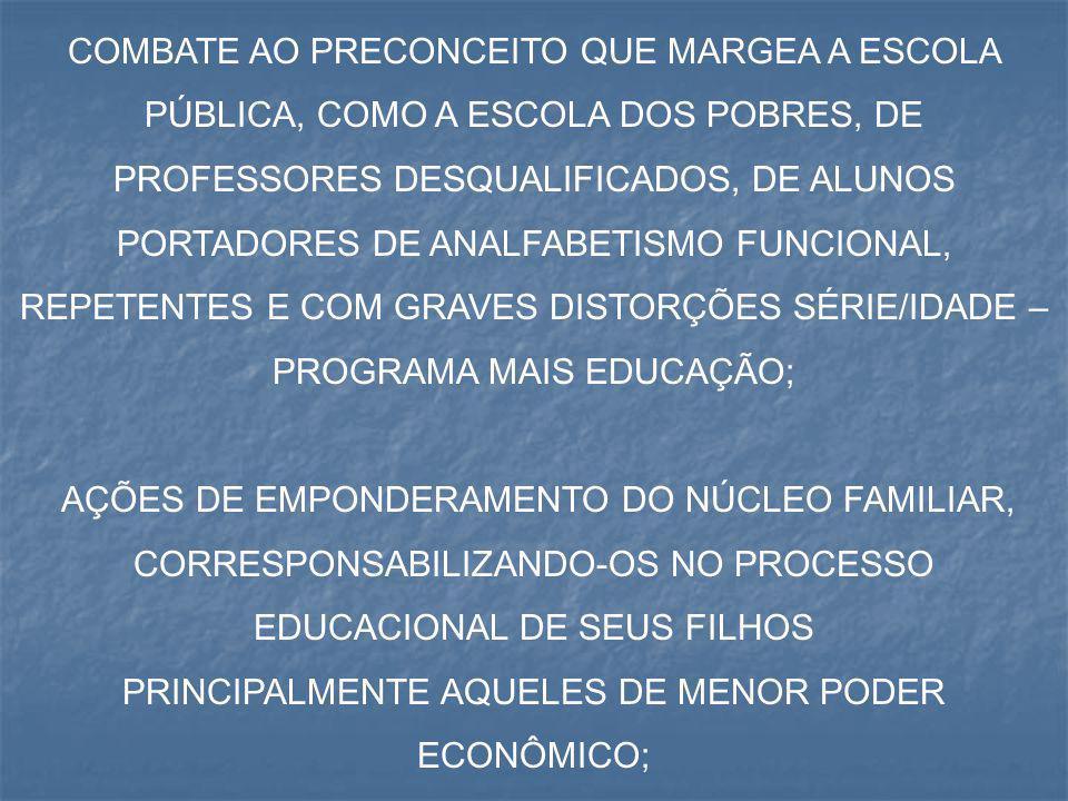 COMBATE AO PRECONCEITO QUE MARGEA A ESCOLA PÚBLICA, COMO A ESCOLA DOS POBRES, DE PROFESSORES DESQUALIFICADOS, DE ALUNOS PORTADORES DE ANALFABETISMO FU