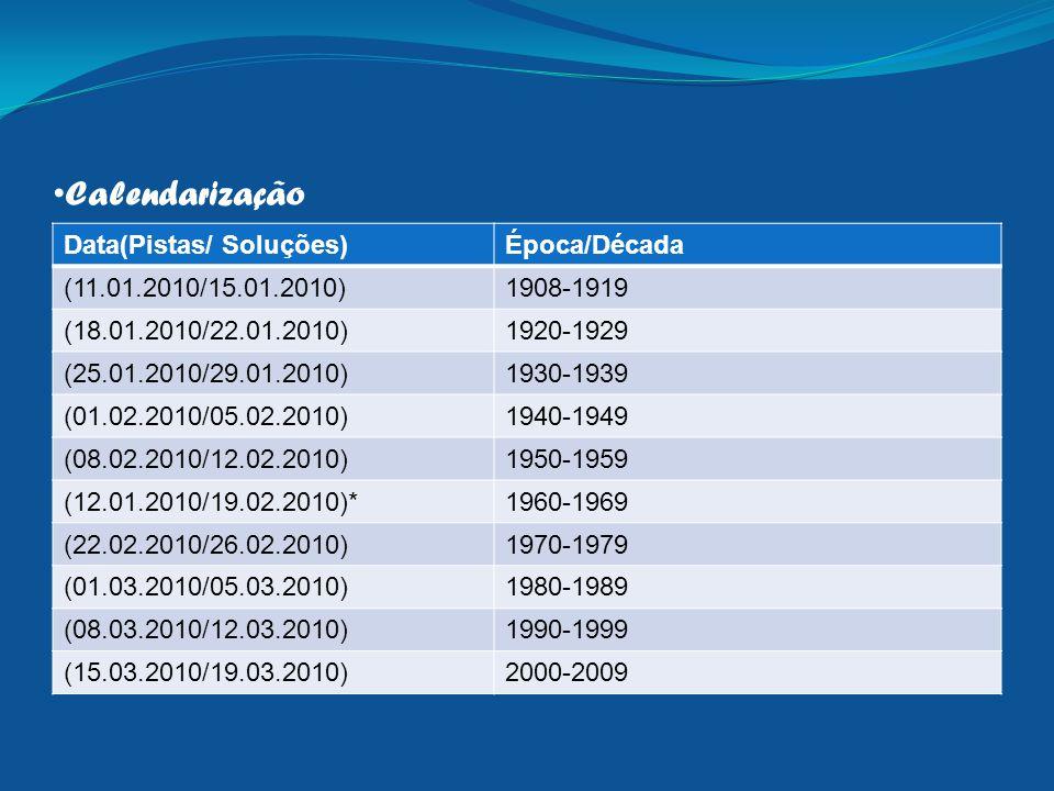 Calendarização Data(Pistas/ Soluções)Época/Década (11.01.2010/15.01.2010)1908-1919 (18.01.2010/22.01.2010)1920-1929 (25.01.2010/29.01.2010)1930-1939 (01.02.2010/05.02.2010)1940-1949 (08.02.2010/12.02.2010)1950-1959 (12.01.2010/19.02.2010)*1960-1969 (22.02.2010/26.02.2010)1970-1979 (01.03.2010/05.03.2010)1980-1989 (08.03.2010/12.03.2010)1990-1999 (15.03.2010/19.03.2010)2000-2009