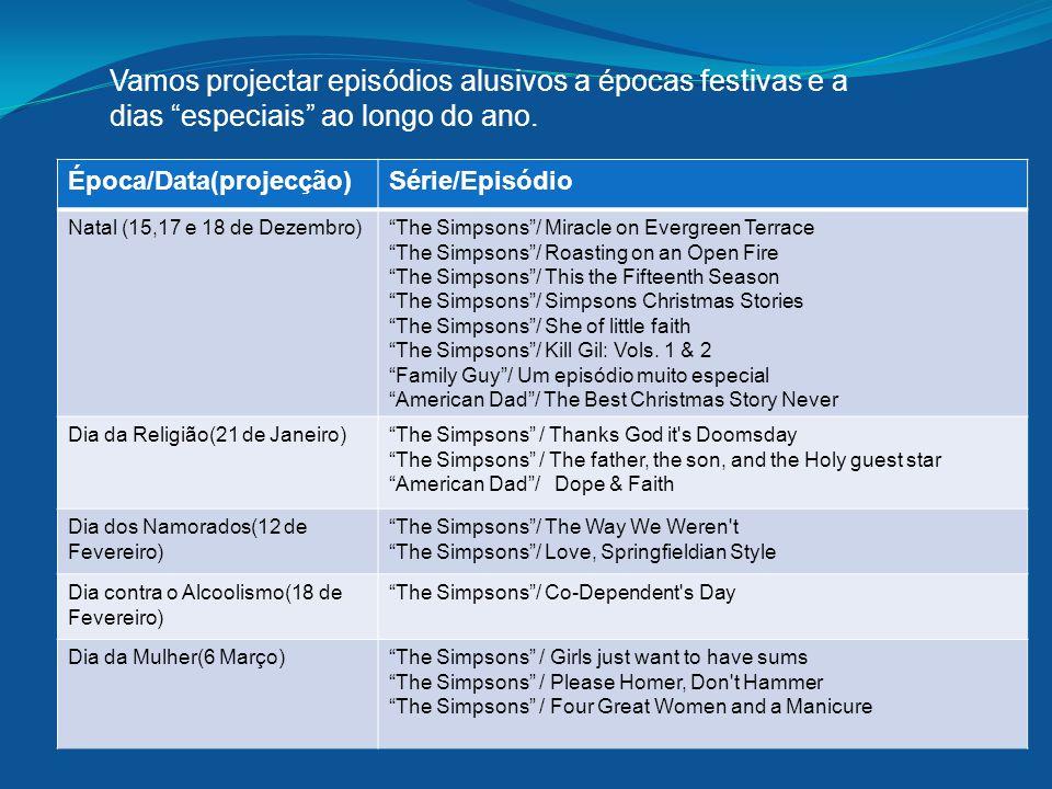 Vamos projectar episódios alusivos a épocas festivas e a dias especiais ao longo do ano.