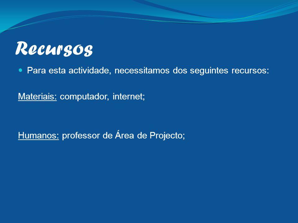 Recursos Para esta actividade, necessitamos dos seguintes recursos: Materiais: computador, internet; Humanos: professor de Área de Projecto;
