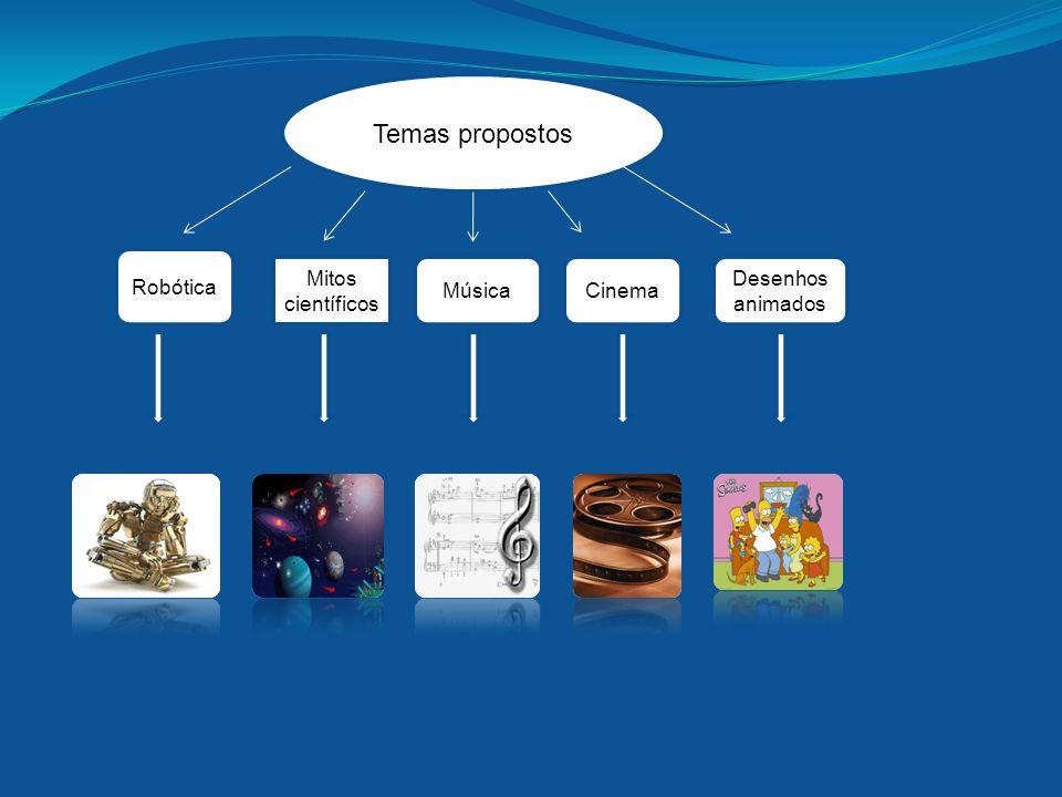 Robótica Temas propostos Mitos científicos MúsicaCinema Desenhos animados