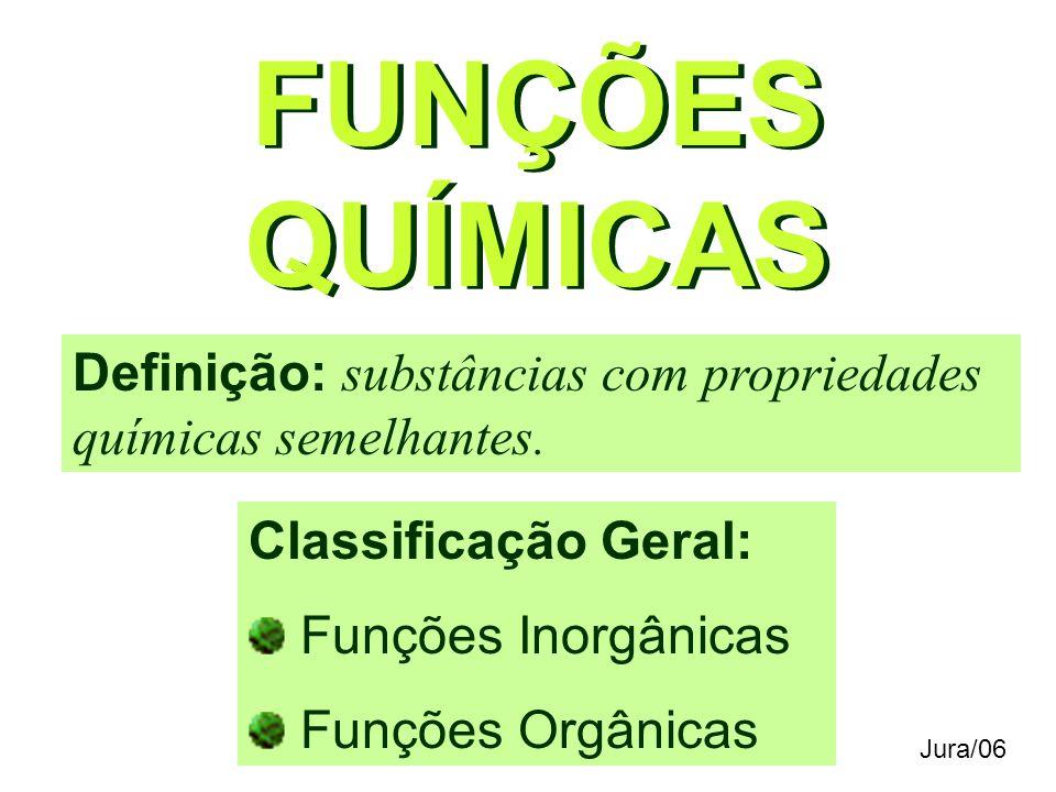 FUNÇÕES QUÍMICAS Definição: substâncias com propriedades químicas semelhantes.