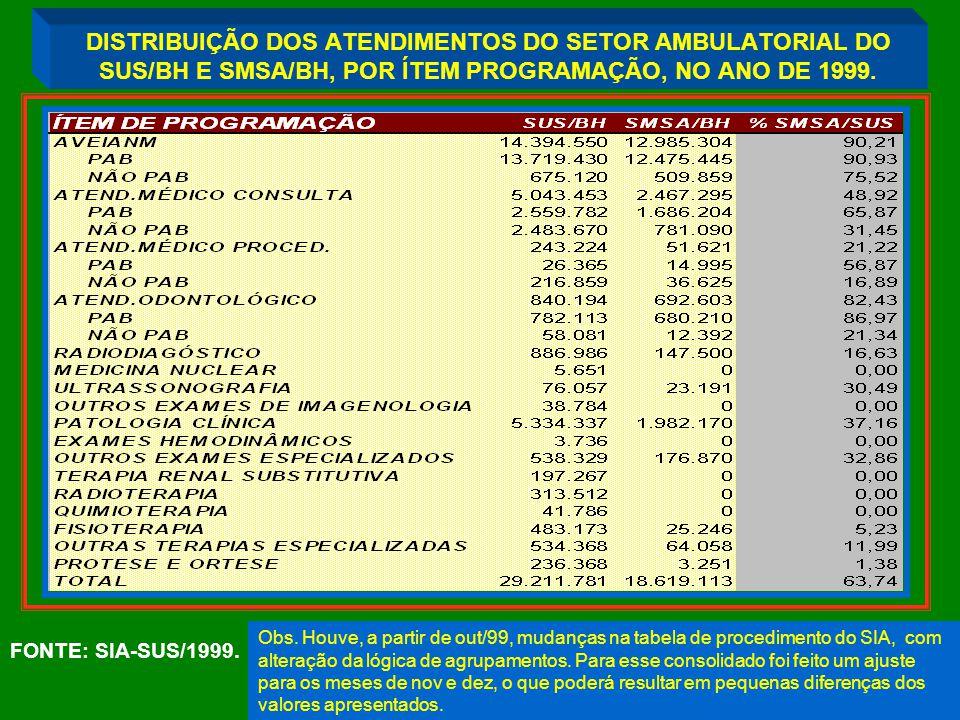 DISTRIBUIÇÃO DOS ATENDIMENTOS DO SETOR AMBULATORIAL DO SUS/BH E SMSA/BH, POR ÍTEM PROGRAMAÇÃO, NO ANO DE 1999.