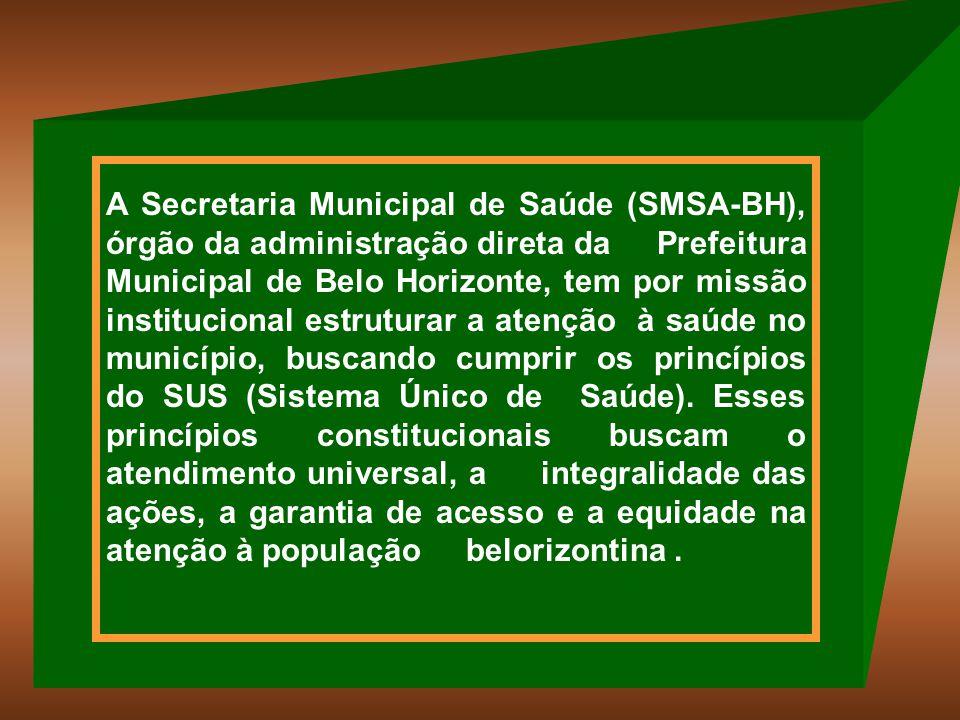 Os serviços de saúde do município podem ser classificados como: -Próprios: administrados diretamente pela Prefeitura Municipal de Belo Horizonte; -Privados Contratados: administrados por prestadores privados e contratados, pela SMSA, para prestar serviços de saúde ao SUS.