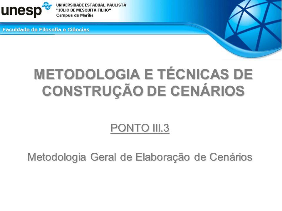 METODOLOGIA E TÉCNICAS DE CONSTRUÇÃO DE CENÁRIOS PONTO III.3 Metodologia Geral de Elaboração de Cenários
